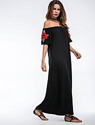 baratos -Mulheres Para Noite Feriado Moda de Rua Bainha Vestido - Franjas, Bordado Cintura Alta Longo Preto