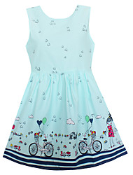 Girls Dress Fashion Blue Heart Bicycle Girl Dresses Party Holiday Princess Children Clothing