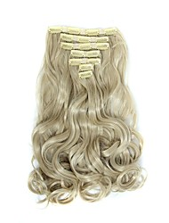 cheap -Hairpiece 17inch 160g 16 Clips 7pcst Synthetic Hair Extension Long Wavy Hair Clip In Hair Extensions Heat Resistant D1016 24/613#