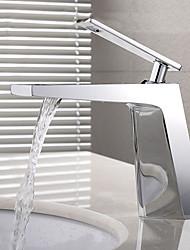 preiswerte -Moderne Mittellage Verbreitete Keramisches Ventil Einhand Ein Loch Chrom , Waschbecken Wasserhahn
