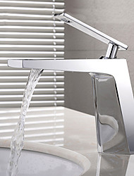cheap -Contemporary Centerset Widespread Ceramic Valve Single Handle One Hole Chrome , Bathroom Sink Faucet