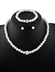 Women's Jewelry Set Crystal Basic Imitation Pearl Rhinestone Alloy Round 1 Necklace 1 Pair of Earrings 1 Bracelet For Wedding Party