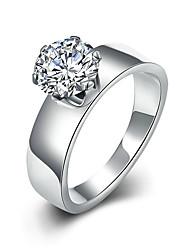 Недорогие -Жен. Титановая сталь Обручальное кольцо / Кольцо - Круглый Мода / Простой стиль Серебряный Кольцо Назначение Новогодние подарки / Свадьба