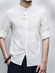 Men's Casual/Daily Chinoiserie Summer Shirt,Solid Stand Linen