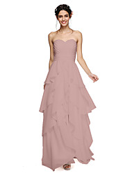 cheap -A-Line Sweetheart Floor Length Chiffon Bridesmaid Dress with Tassel Ruched Criss Cross by LAN TING BRIDE®