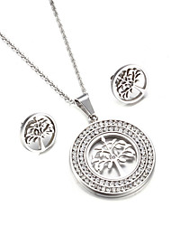 Women's Jewelry Set Friendship Fashion USA British Costume Jewelry Stainless Steel Tree of Life 1 Necklace 1 Pair of Earrings For Party