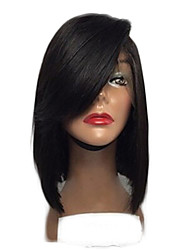 cheap -Fashion Periuvian Virgin Hair Bob Lace Wigs Straight Lace Front Human Hair Wigs Short Virgin Hair Bob Wig with Side Bang