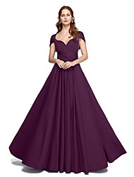cheap -Product Sample A-Line Princess Straps Floor Length Jersey Bridesmaid Dress with Pleats Criss Cross by LAN TING BRIDE®
