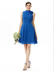 cheap -A-Line High Neck Knee Length Chiffon Bridesmaid Dress with Pleats Flower Ruched by LAN TING BRIDE®