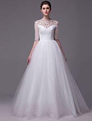 A-Line Princess Illusion Neckline Floor Length Tulle Wedding Dress with Crystal Beading by DRRS