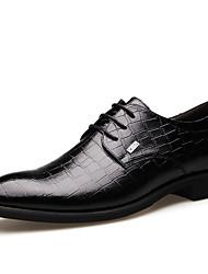 preiswerte -Herren Schuhe Mikrofaser Frühling Sommer Herbst Winter Komfort Outdoor Walking Schnürsenkel Für Normal Schwarz