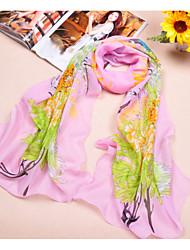 cheap -Women's Chiffon Scarf Cute Party Casual Rectangle Pink/White/Orange Print Scarves