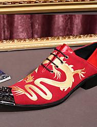 Masculino sapatos Couro Camurça Primavera Outono Conforto Inovador Sapatos formais Oxfords Caminhada Apliques Cadarço Para Casamento