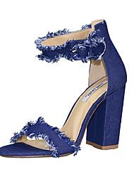 preiswerte -Damen Schuhe Denim Jeans Sommer Club-Schuhe Sandalen Blockabsatz Offene Spitze Schnalle für Normal Kleid Party & Festivität Schwarz Gelb