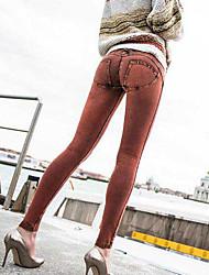 economico -Da donna A vita medio-alta Romantico Sensuale Media elasticità magro Jeans Pantaloni della tuta Pantaloni,Tinta unita Cotone Quattro