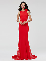 cheap -Mermaid / Trumpet Jewel Neck Sweep / Brush Train Chiffon Lace Formal Evening Dress with Flower(s) Lace Pleats by TS Couture®