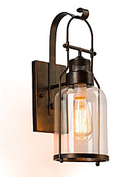cheap -Retro Industrial Loft Lantern 1-Light Wall Sconce with Clear Glass
