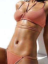 cheap -Women's Solid Solid Bandeau Bikini Swimwear,Polyester Roman Knit Blushing Pink