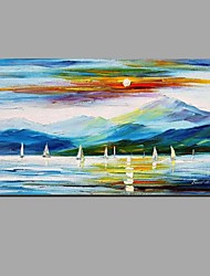 cheap -Hand-Painted Knife sunset Ocean sailing Oil Painting For Home Decoration With Stretched Frame Ready To Hang
