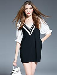 T-shirt Da donna Per uscire Casual Romantico Primavera Estate,A strisce A V Cotone Nylon Elastene Mezze maniche Medio spessore