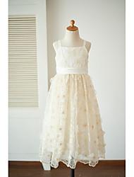 vestito ragazza da fiore di lunghezza del tè / colonna del tè - cinghie senza maniche in raso di merletto con arco da thstylee