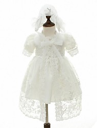 Недорогие -бальное платье колено длина цветок девушка платье - органза короткий рукав жемчужина шея ydn