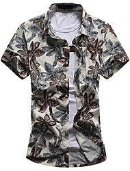 Men's Plus Size 7XL Fashion Floral Print Casual Slim Fit Short Sleeve Shirt/ Cotton /Polyester/Work/Plus Size