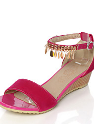 cheap -Women's Sandals Summer D'Orsay & Two-Piece Comfort Leatherette Wedding Party & Evening Dress Low Heel Buckle Hollow-outBlushing Pink Blue
