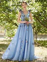 A-line v-neck tribunal trem vestido de noite formal de tule com flor (es) pregas