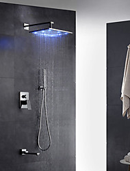 Contemporary Art Deco/Retro Modern Wall Mounted Rain Shower Pullout Spray LED Brass Valve Two Holes Single Handle Two Holes Chrome ,