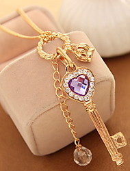 Women's Choker Necklaces Pendant Necklaces Chain Necklaces Crystal Rhinestone Heart Crown Rhinestone Alloy Basic Unique Design Dangling