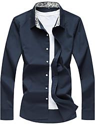 Men's Casual/Daily Beach Simple Active Summer Shirt,Striped Floral Galaxy Shirt Collar Long Sleeve Cotton Rayon Thin
