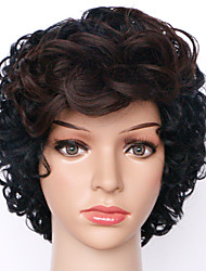 cheap -24cm Capless Wig Ombre Black and Brown Curly Fashion Synthetic Wigs For Women Costume Wig Synthetic Wigs