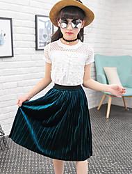 Pige Tøjsæt Daglig I-byen-tøj Ferie Ensfarvet, Bomuld Sommer Kortærmet Pænt tøj Blonde Brun Grøn