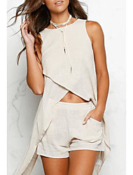 Women's Casual/Daily Simple Summer Blouse Skirt Suits,Solid Sleeveless Mesh Inelastic