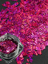 1 bouteille nouvelle mode design doux rose rouge ongle art rhombus rayure laser fine tranche diy beauté paillettes éblouissante paillette