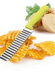 1Pcs  New Stainless Steel Potato Chips Wavy Cutter Dough Vegetable Crinkle Slicer Knife Corrugated Knife Kitchen Accessories