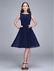 cheap -A-Line Jewel Neck Knee Length Chiffon Bridesmaid Dress with Ruching by LAN TING BRIDE®
