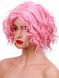 Pink Short Wig Wavy Glueless Heat Resistant Fiber Synthetic Wig Natural Hair Full Cosplay Costume Wigs for Women