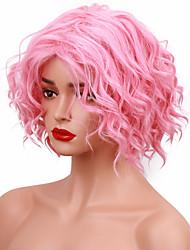 Donna Parrucche sintetiche Senza tappo Pantaloncini Ondulati Rosa Parrucca naturale costumi parrucche