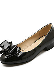 cheap -Women's Shoes Patent Leather Spring Summer Comfort Heels Low Heel Round Toe Bowknot for Casual Office & Career Dress Black Red