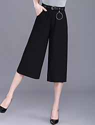 Women's High Rise Micro-elastic Chinos Pants,Simple Wide Leg Sequins Solid