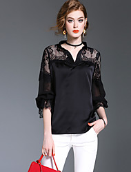XSSLWomen's Going out Casual/Daily Simple Cute Street chic Spring Fall ShirtSolid V Neck Long Sleeve Polyester Medium