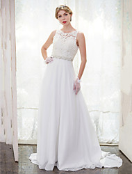 A-Line Scoop Neck Chapel Train Chiffon Lace Wedding Dress with Beading Lace Button by LAN TING BRIDE®