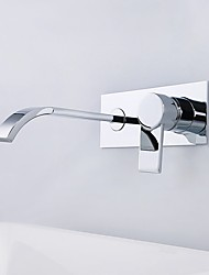 cheap -Contemporary Wall Mounted Waterfall Ceramic Valve Single Handle Two Holes Chrome, Bathroom Sink Faucet