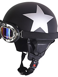 cheap -Half Face Motorcycle Helmet Silver Star Pattern Flexible ABS Street Motorcycle Helmet Matte Black Color