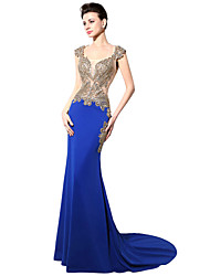 cheap -Mermaid / Trumpet Square Neck Sweep / Brush Train Jersey Beautiful Back / See Through Cocktail Party / Formal Evening Dress with Crystals by LAN TING Express