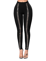 Women's High Rise Stretchy Chinos Fashion All Match Snap Fastener PantsSexy Simple Skinny Patchwork Solid