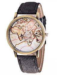 Homens Relógio de Moda Chinês Quartzo Tecido Banda Padrão Mapa do Mundo Mapa de Viagem Cores Múltiplas