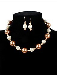 cheap -Women's Imitation Pearl Adorable Jewelry Set 1 Necklace / 1 Pair of Earrings / 1 Bracelet - Luxury / Love / Statement LOVE Beige Bridal